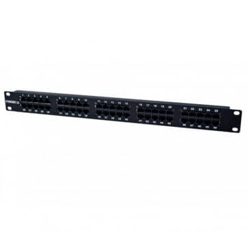 "19"" Patchpanel 50xTP, CAT3, ISDN in Farbe Schwarz"