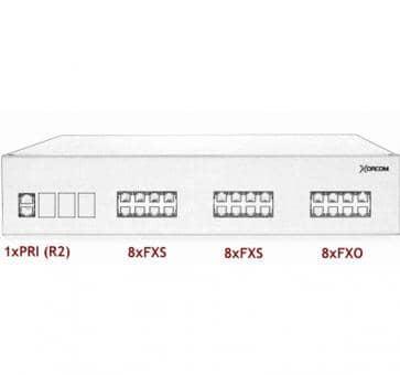 Xorcom IP PBX - 1 PRI + 16 FXS + 8 FXO - XR3074
