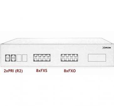 Xorcom IP PBX - 2 PRI + 8 FXS + 8 FXO - XR3078