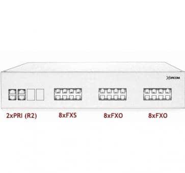Xorcom IP PBX - 2 PRI + 8 FXS + 16 FXO - XR3079