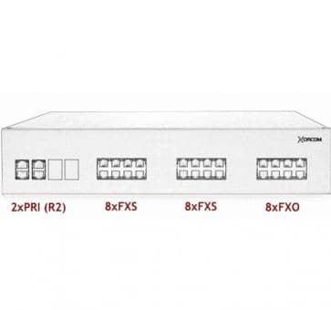 Xorcom IP PBX - 2 PRI + 16 FXS + 8 FXO - XR3080