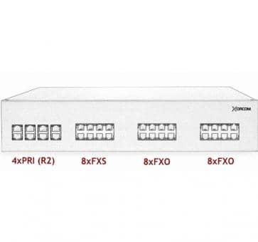 Xorcom IP PBX - 4 PRI + 8 FXS + 16 FXO - XR3085