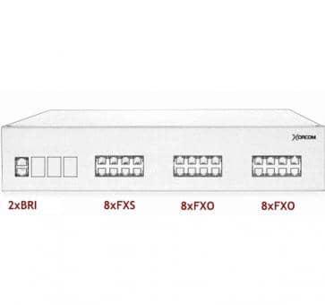 Xorcom IP PBX - 2 BRI + 8 FXS + 16 FXO - XR3091