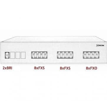 Xorcom IP PBX - 2 BRI + 16 FXS + 8 FXO - XR3092
